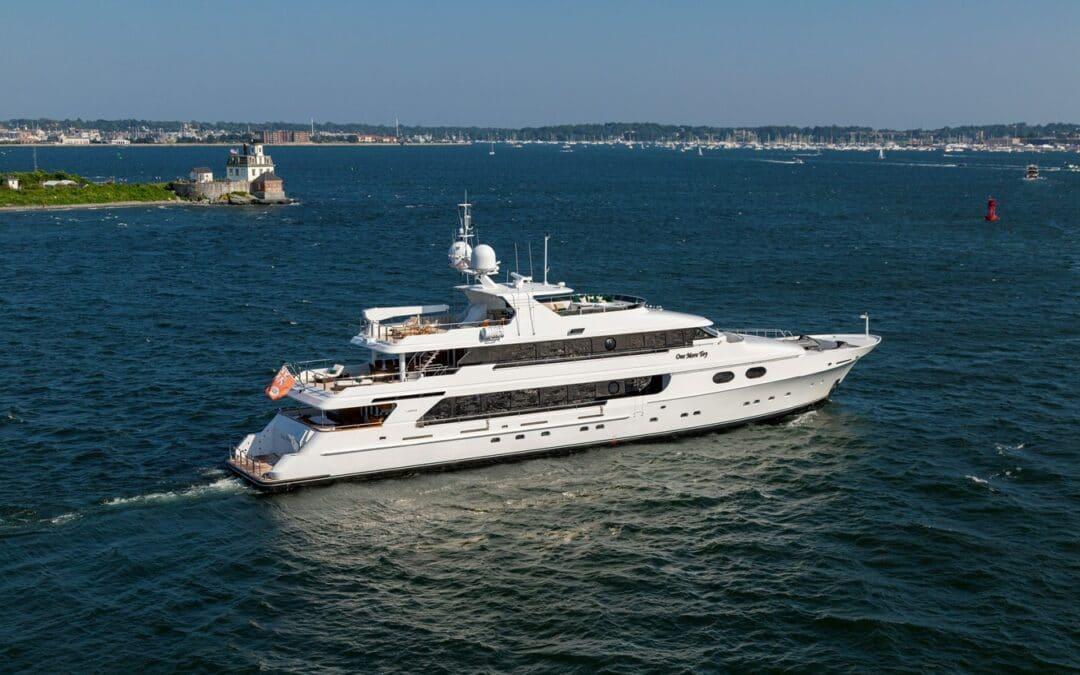 2001 Christensen Tri Deck Motor Yacht ONE MORE TOY bird eye perspective