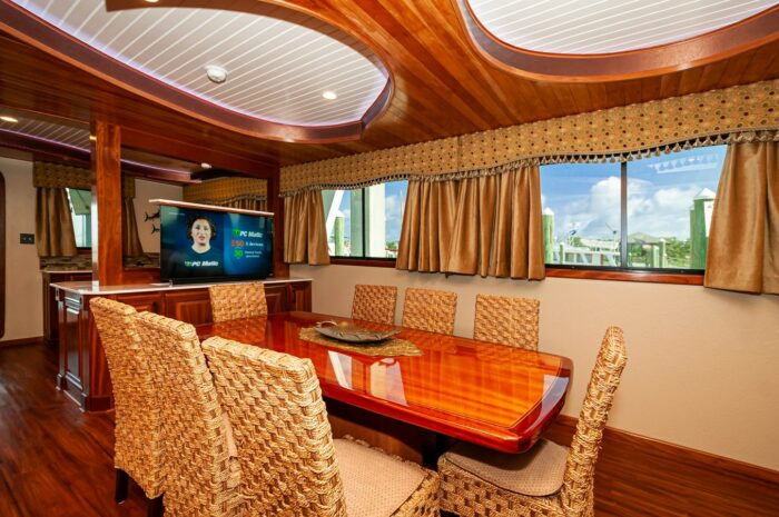 """2016 Custom Built Houseboat 106' 9"""" Le Colby Jean dining room"""