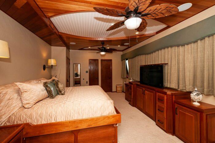 "2016 Custom Built Houseboat 106' 9"" Le Colby Jean master bedroom"